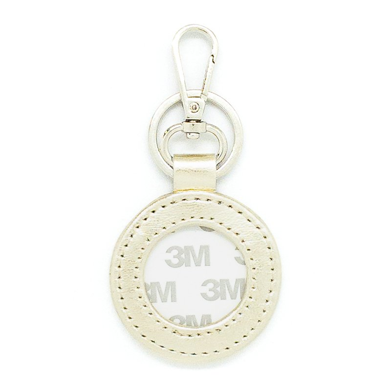 LEATHER KEY FOB GOLD ROUND