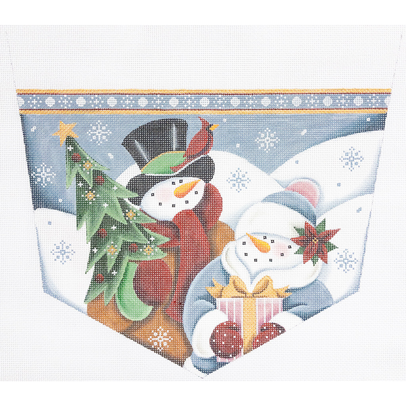 SNOW COUPLE STOCKING TOPPER - 50% Off