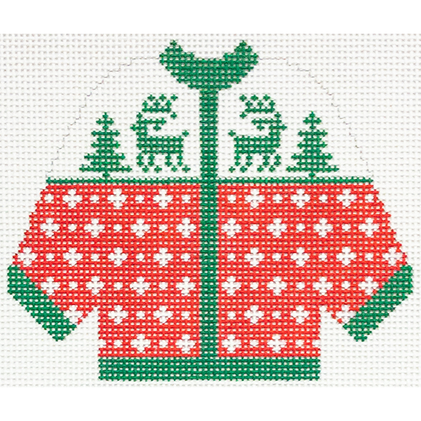 RED with GREEN REINDEER CARDIGAN ORNAMENT