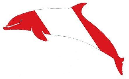 Die Cut Dolphin W/ Dive Flag Sticker