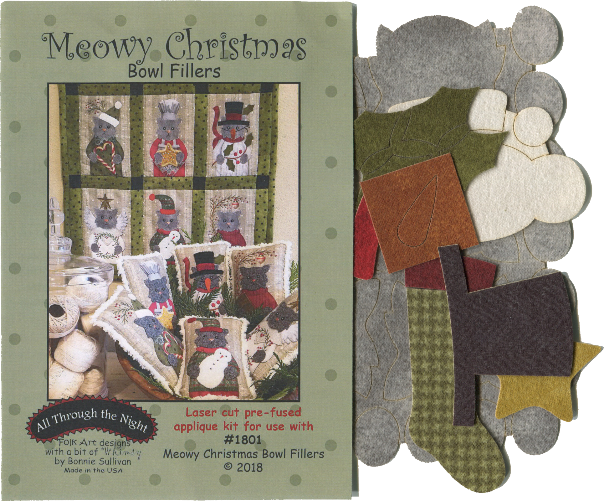 K1801 Meowy Christmas Applique Kit