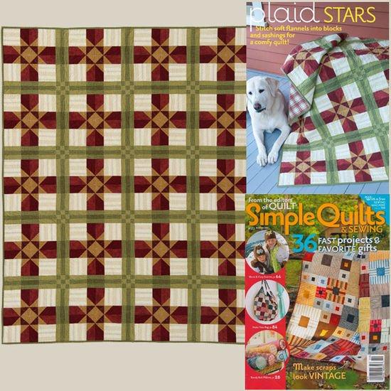 Plaid Stars Quilt Fabric Kit w/Free Shipping