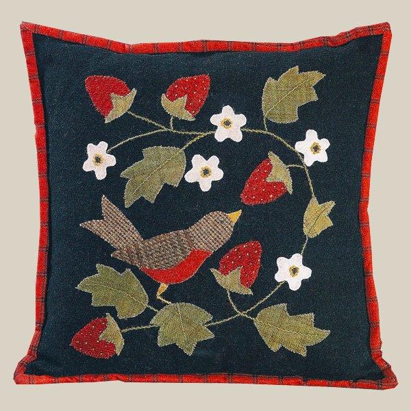 Robin Strawberries Pillow as seen in Bonnie's Garden Wool Kit