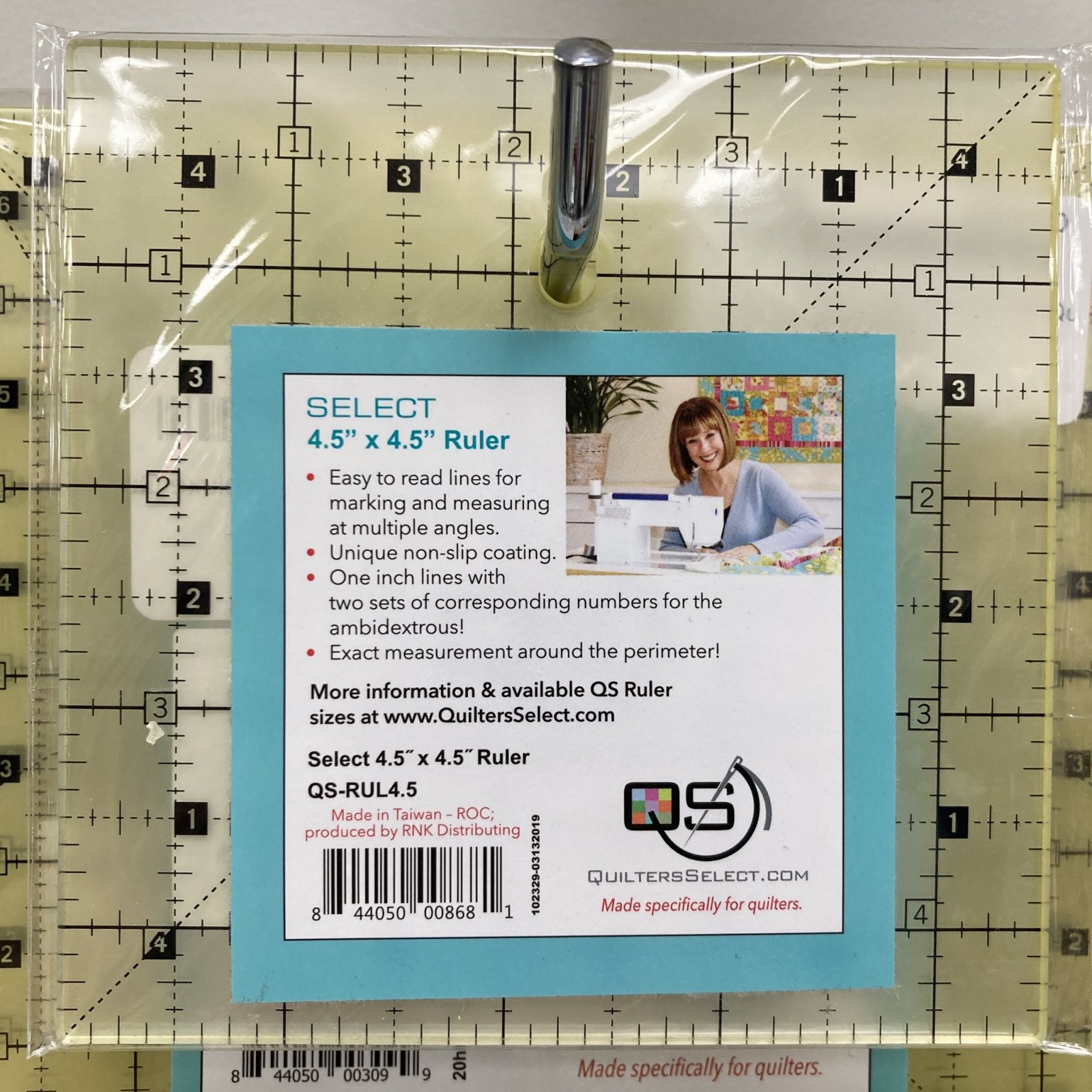 4-1/2 x 4-1/2 Non-Slip Deluxe Quilting Ruler - Quilters Select