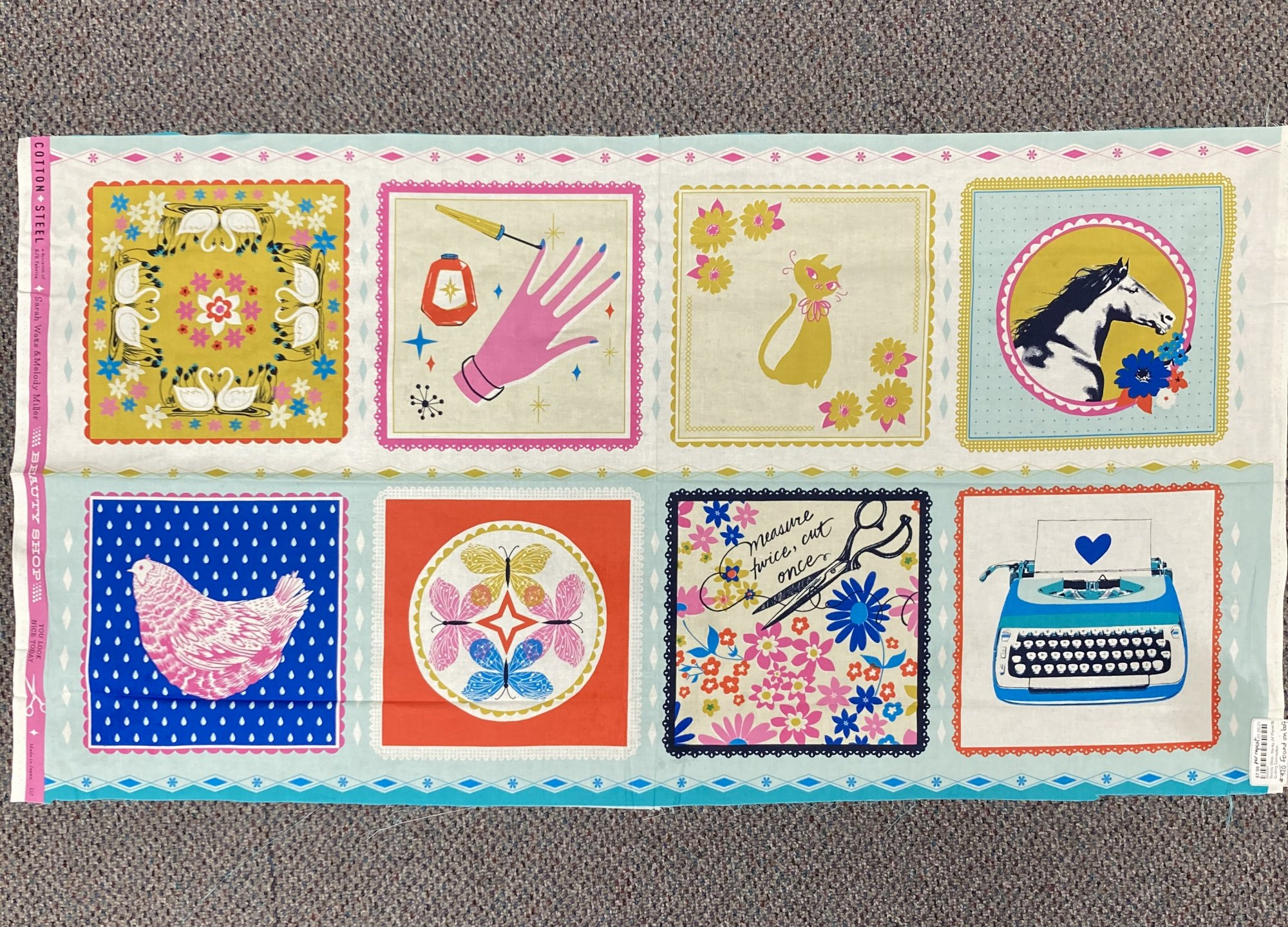 Beauty Shop - Hanky 24 Panel Blue - #C6000-001 - By Sarah Watts & Melody Miller (#420 on bolt)