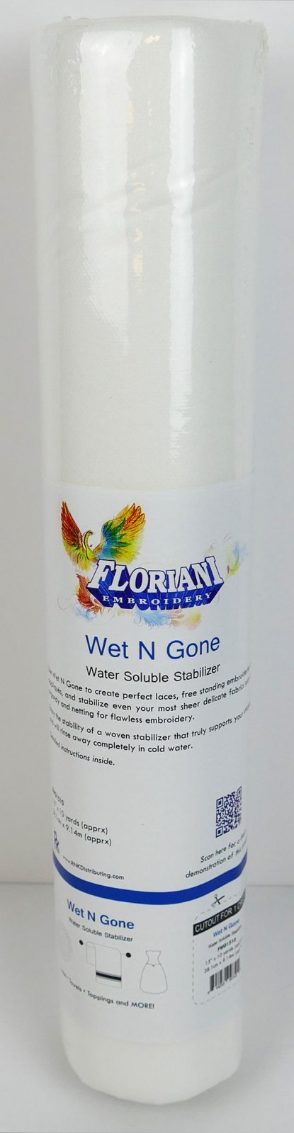 Wet N Gone - Water Soluble Stabilizer - 15 x 10 yards - Floriani