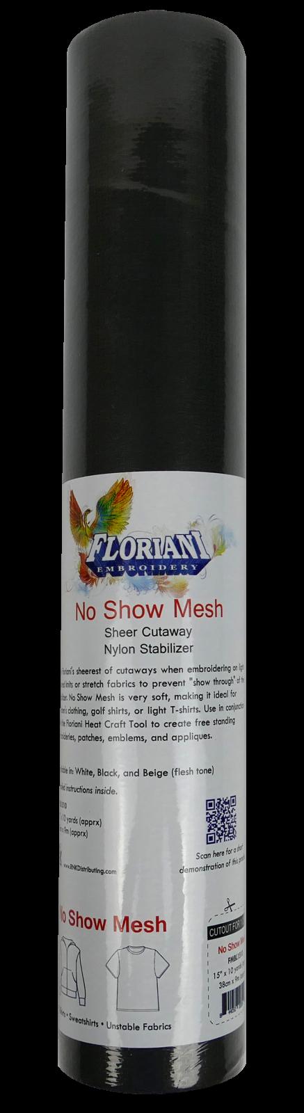 No Show Fusible Mesh - Sheer Cutaway Nylon Stabilizer : Black - 15 x 10 yards - Floriani