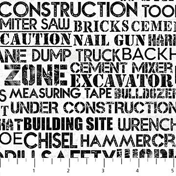 Construction Zone : Construction Words Gray Black - #23265-91 - By Kim Peers-Moore