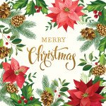 Gradients Holiday : Poinsetta Christmas Panel White - #33431-13P - 57x57