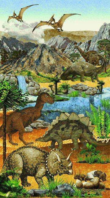 Stonehenge Prehistoric : Dinosaur Panel - #39184-42 - Linda Ludovico