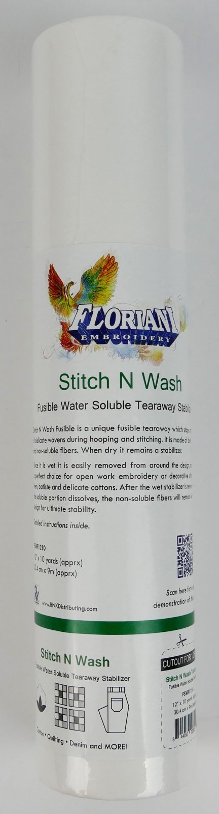 Floriani Stitch N Wash - Fusible Water SolubleTearaway - 12 x 10 yards