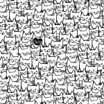 Quilt Back 108 : Packed Cats White - #51120-1