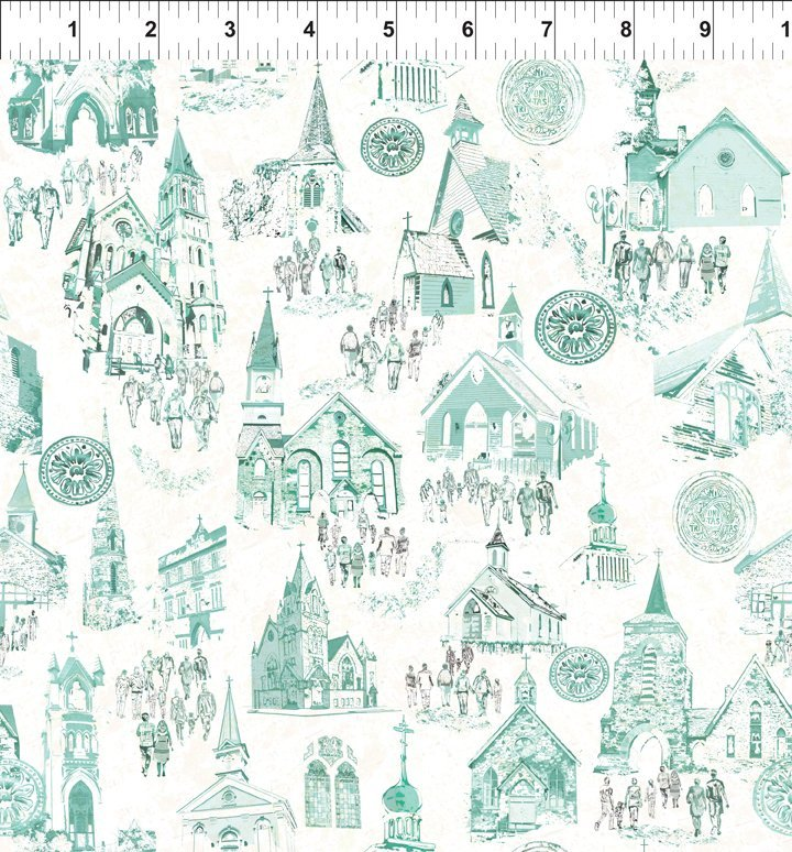Believe : Church Scenes Teal - #5PBB-1 - By Peggy Brown