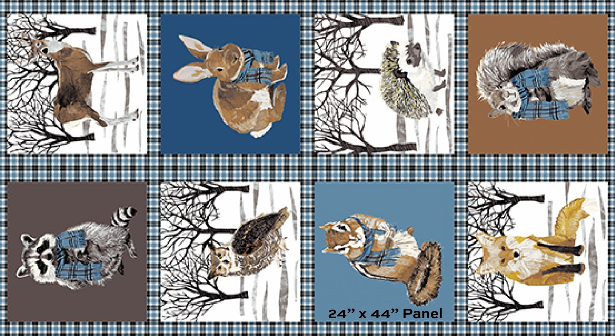 Woodland Winter : 24 Midnight Blue Bundled Up Panel - #A-9747-B - Two Can Art (433)