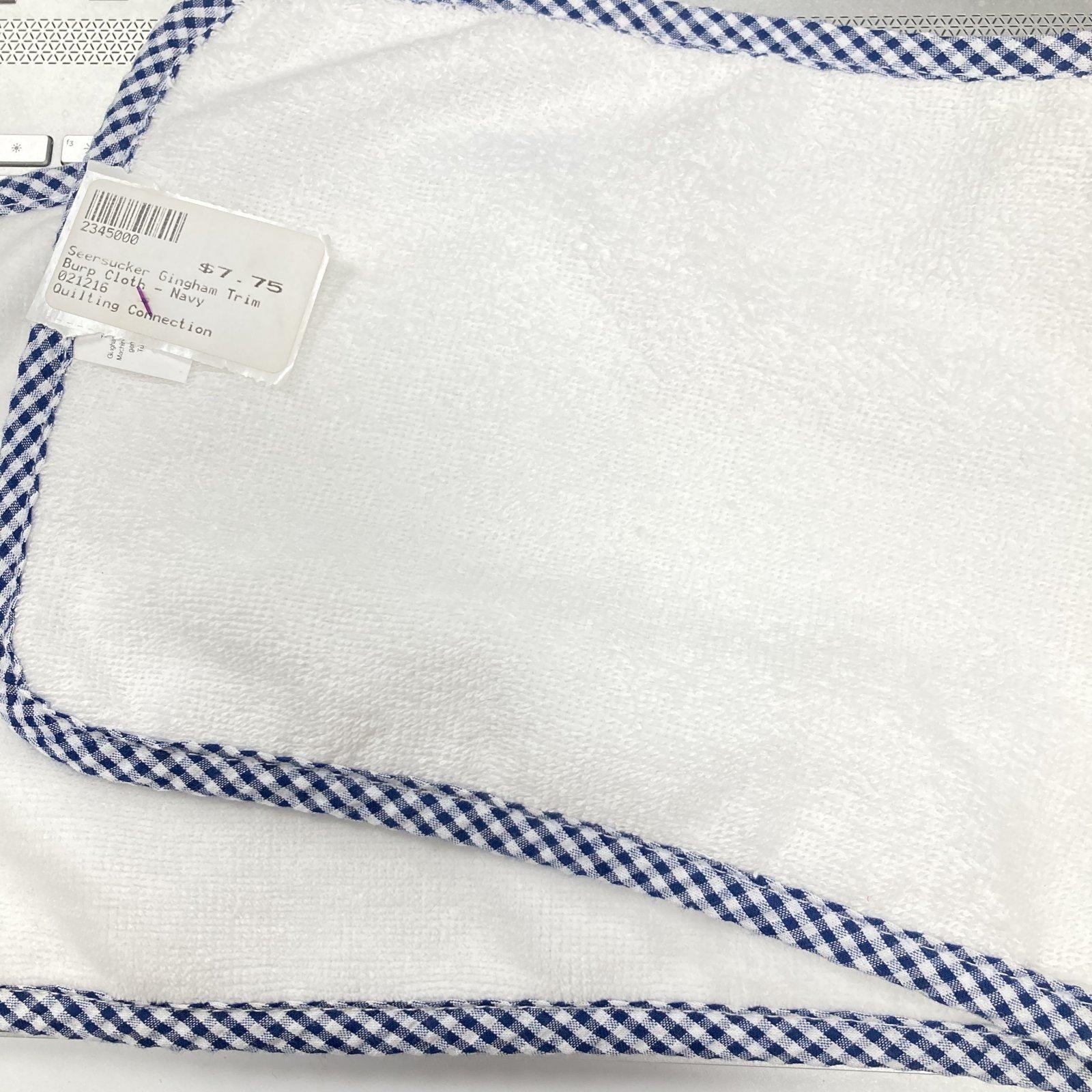 Seersucker Gingham Trim Burp Cloth - Navy