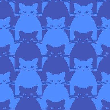 Kitty Kitty : Blue Tonal Cat - #8585-77 - By Yolanda Fundora