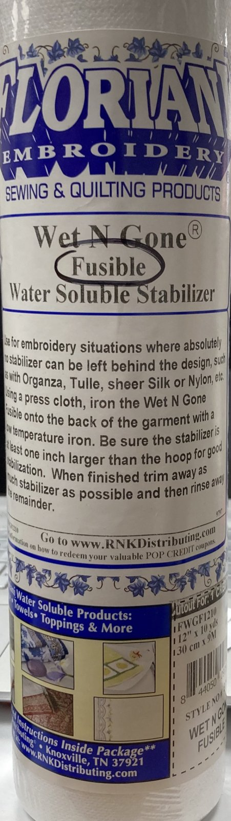 Floriani Wet N Gone Fusible Water Soluble Stabilizer - 12 x 10 yards