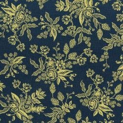 English Garden : Toile - Navy Metallic - #8060-002 - By Rifle Paper Co. for Cotton & Steel