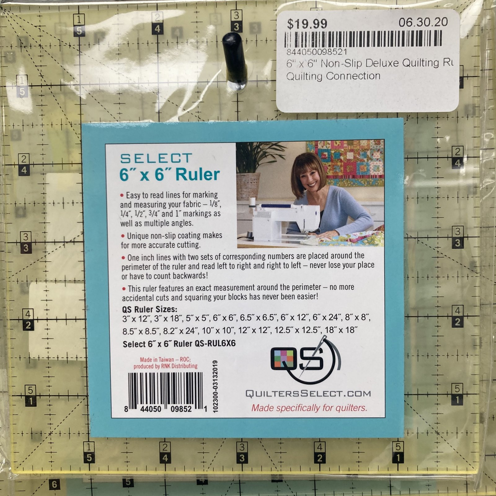 6 x 6 Non-Slip Deluxe Quilting Ruler - Quilters Select