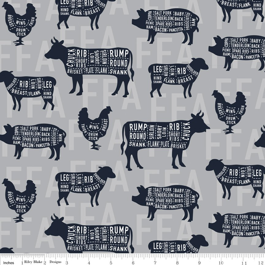 FFA Forever Blue : Meat Cuts Gray - #C7214-Gray