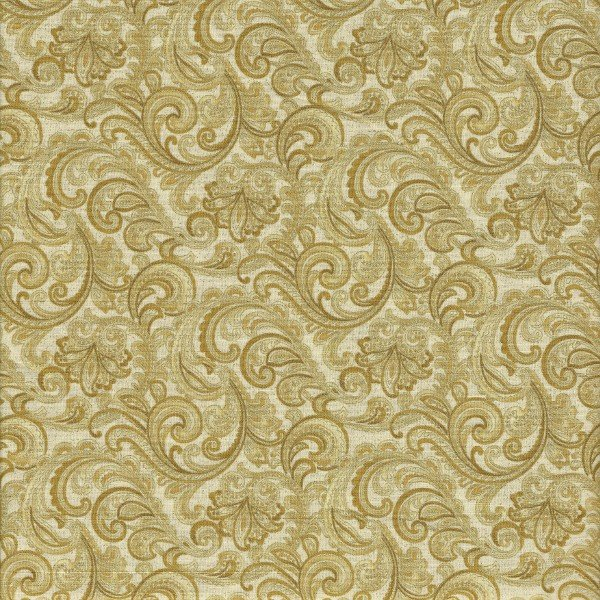 Chickadees & Berries4746M 33 Golden Scroll Cream/Gold