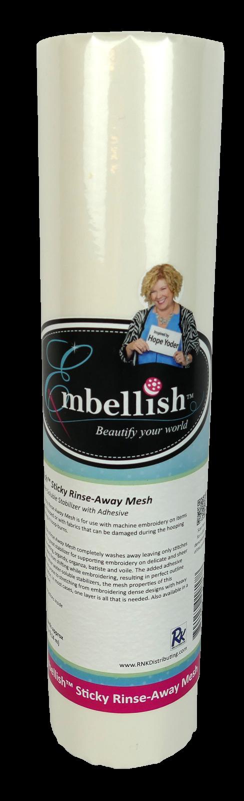 Sticky Rinse-Away Mesh - 12x10yds - Embellish