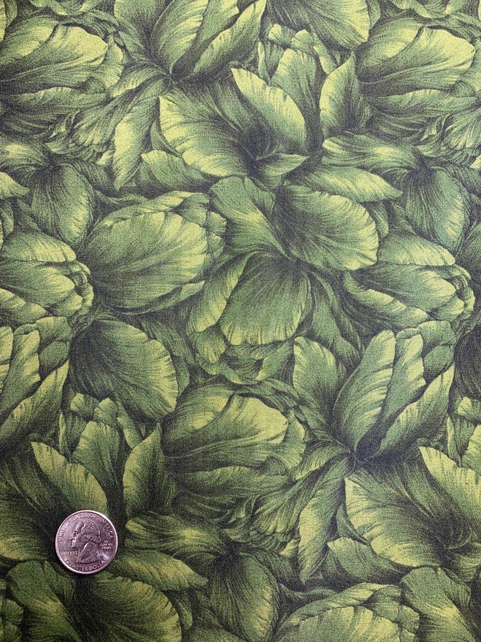 Floral Legacy - Olive Green Tonal Tulips - #Flor-01 Olive
