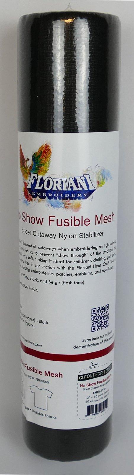 No Show Fusible Mesh - Sheer Cutaway Nylon Stabilizer : Black - 12 x 10 yards - Floriani