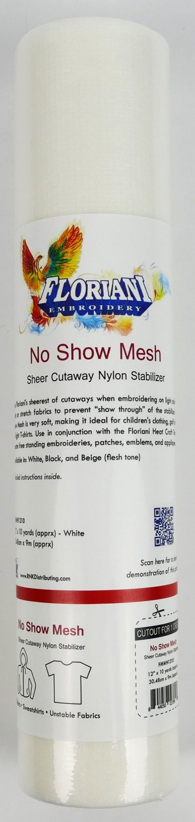 No Show Mesh : Sheer Cutaway Nylon Stabilizer - White - 12 x 10 yards - Floriani