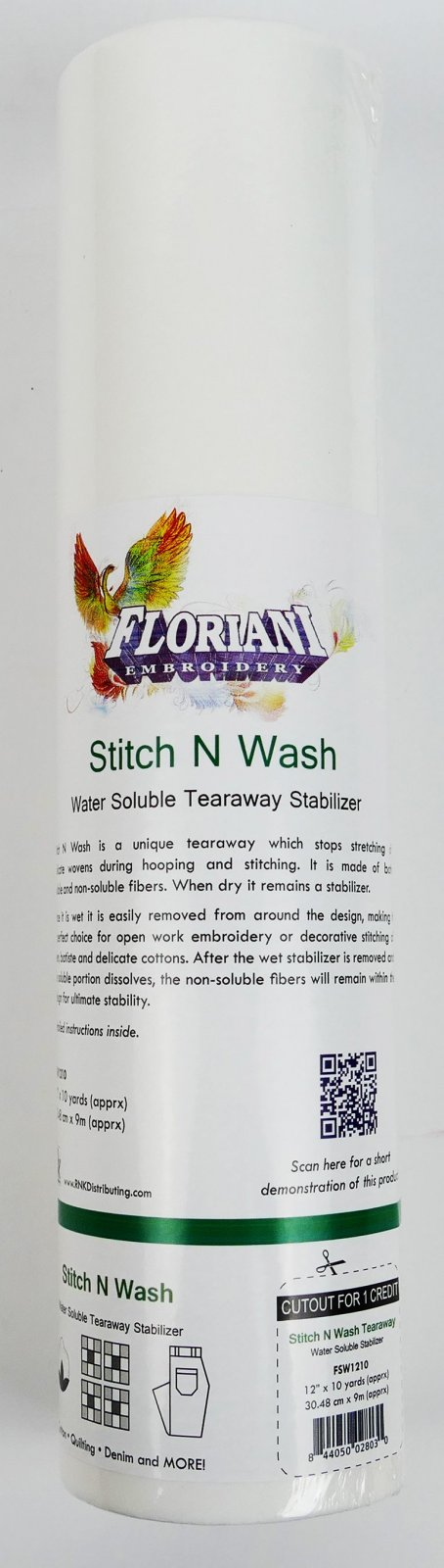 Stitch N Wash : Water Soluble Tearaway Stabilizer - 12 x 10 yards - Floriani