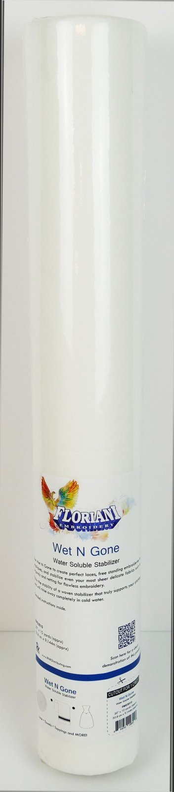 Wet N Gone - Water Soluble Stabilizer - 20 x 10 yards - Floriani