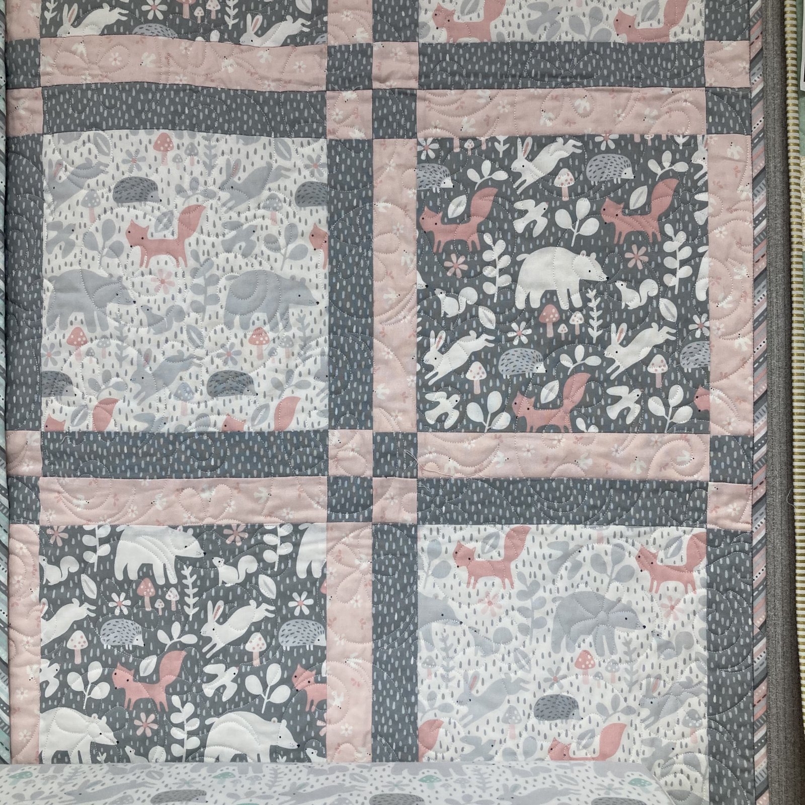 """Hello Little One Pink/Grey Kit 38"""" x 50"""" (48"""" x 60"""" with optional border)"""