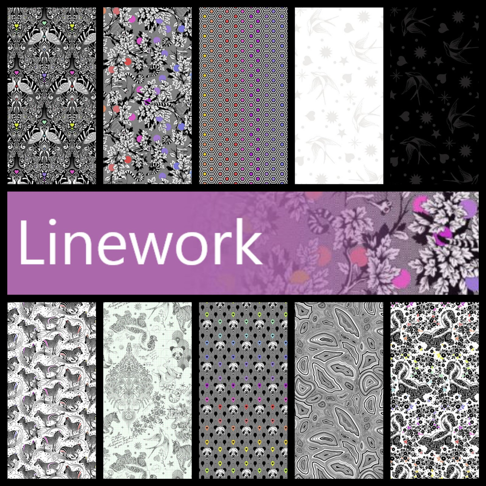 Linework : 5 Charm Pack - (42) 5 squares - Tula Pink