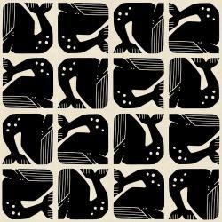 By the Seaside : Grumpy Whale Black Unbleached - #LV100-BK2U - By Loes van Oosten