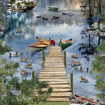 Gone Fishing : Lakeside Afternoon Panel - #C6402-Lake
