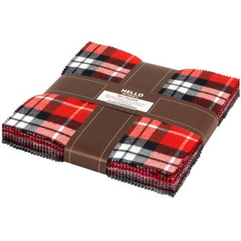 Mammoth Flannel : Red Colorstory - Ten Squares - (42) 10x10 squares