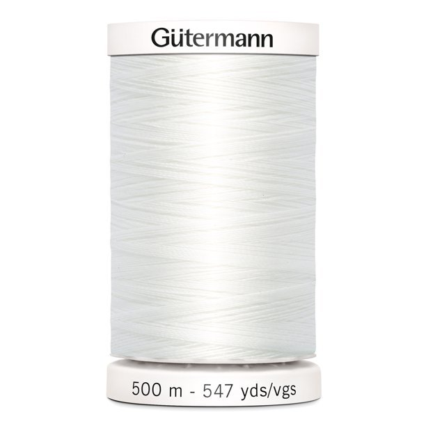 White - Sew-all Polyester All Purpose Thread - 50wt - 500m/547yds - #501M-9020 - Gutermann