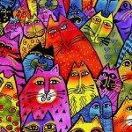 Feline Frolic : Packed Cats Multi Color Metallic - #Y2798-55M - By Laurel Burch