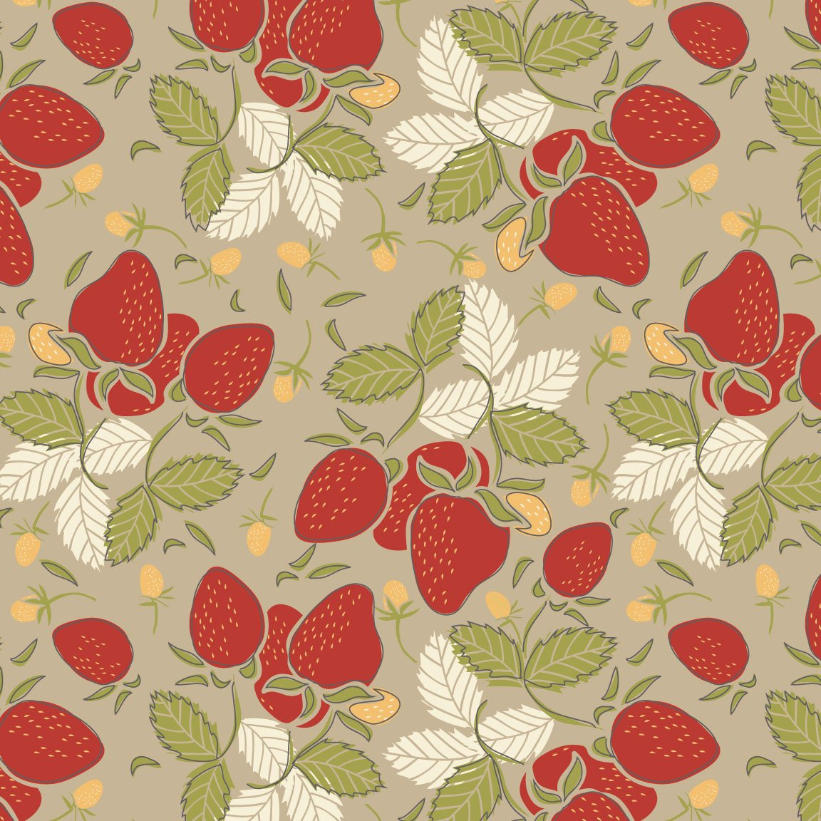 Vintage Berries - Strawberries Tan