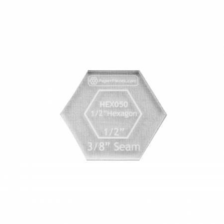 EPP Acrylic 1/2 Hexagon Template 1/4 Seam