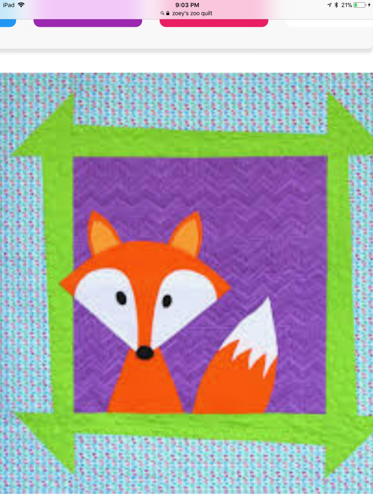 Zoey's Zoo Fox Quilt Kit
