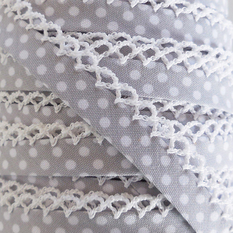 Gray Polka Dot Crochet Edge Bias Tape
