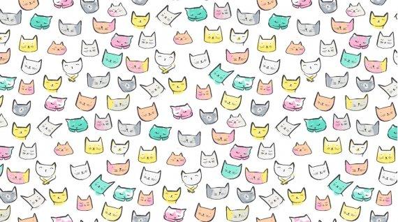 Catitude - Cat Heads White  10/19