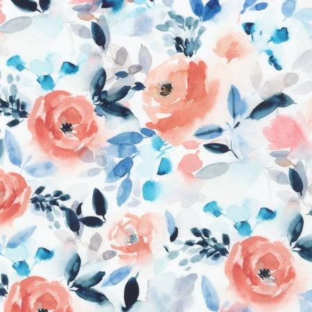 Chelsea - Watercolor Flowers White  02/20