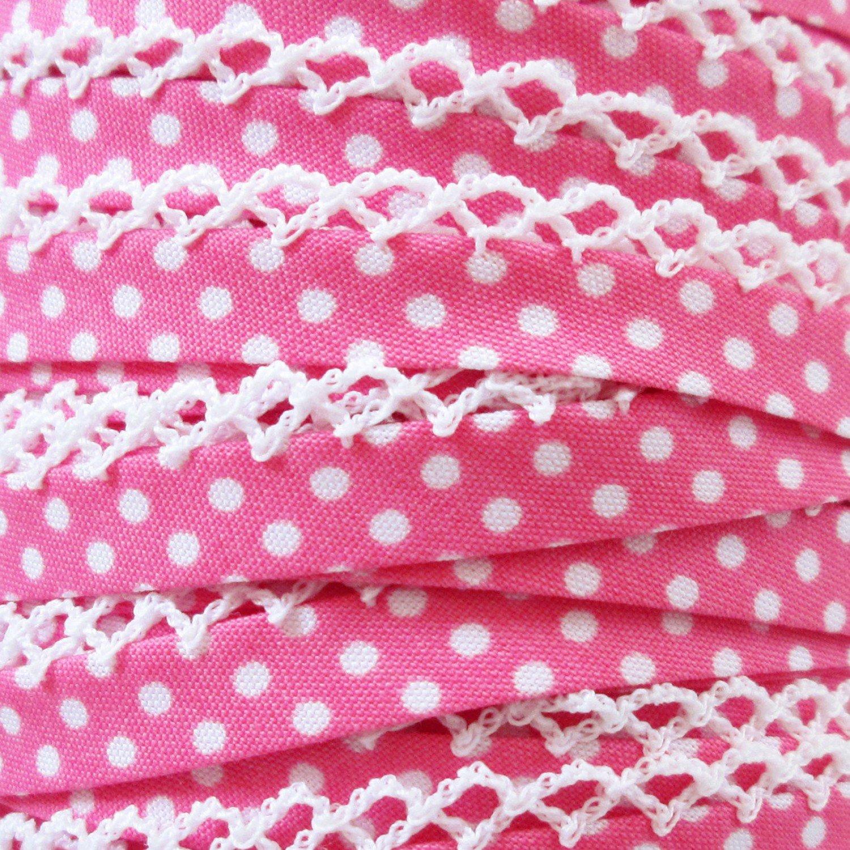 Bubble Gum Polka Dot Crochet Edge Bias Tape