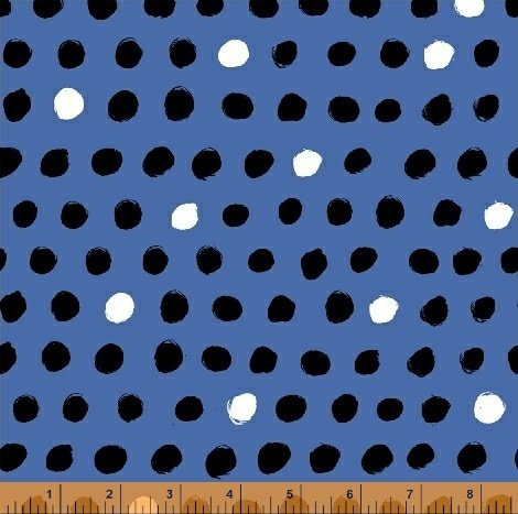 Black and White Dots on Blue