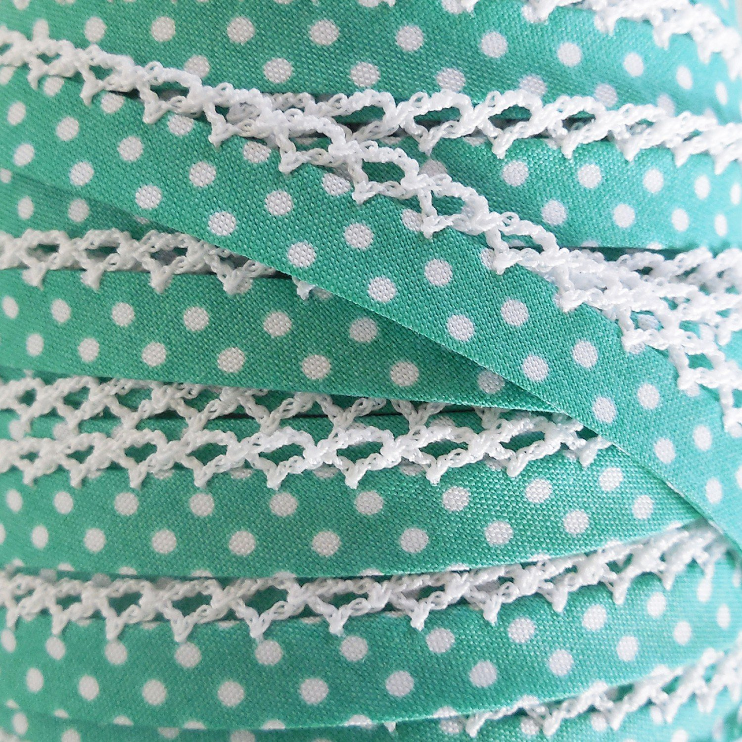 Seafoam Polka Dot Crochet Edge Bias Tape