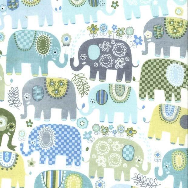 Happy Elephants Blue Flannel