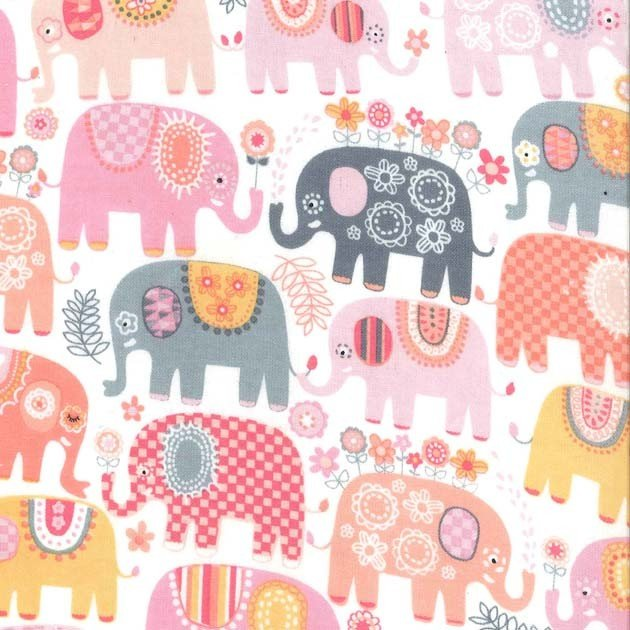 Happy Elephants Pink Flannel