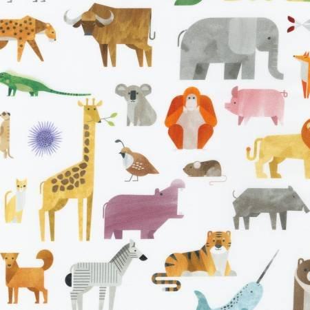 A to Z Animals - Animals Allover White